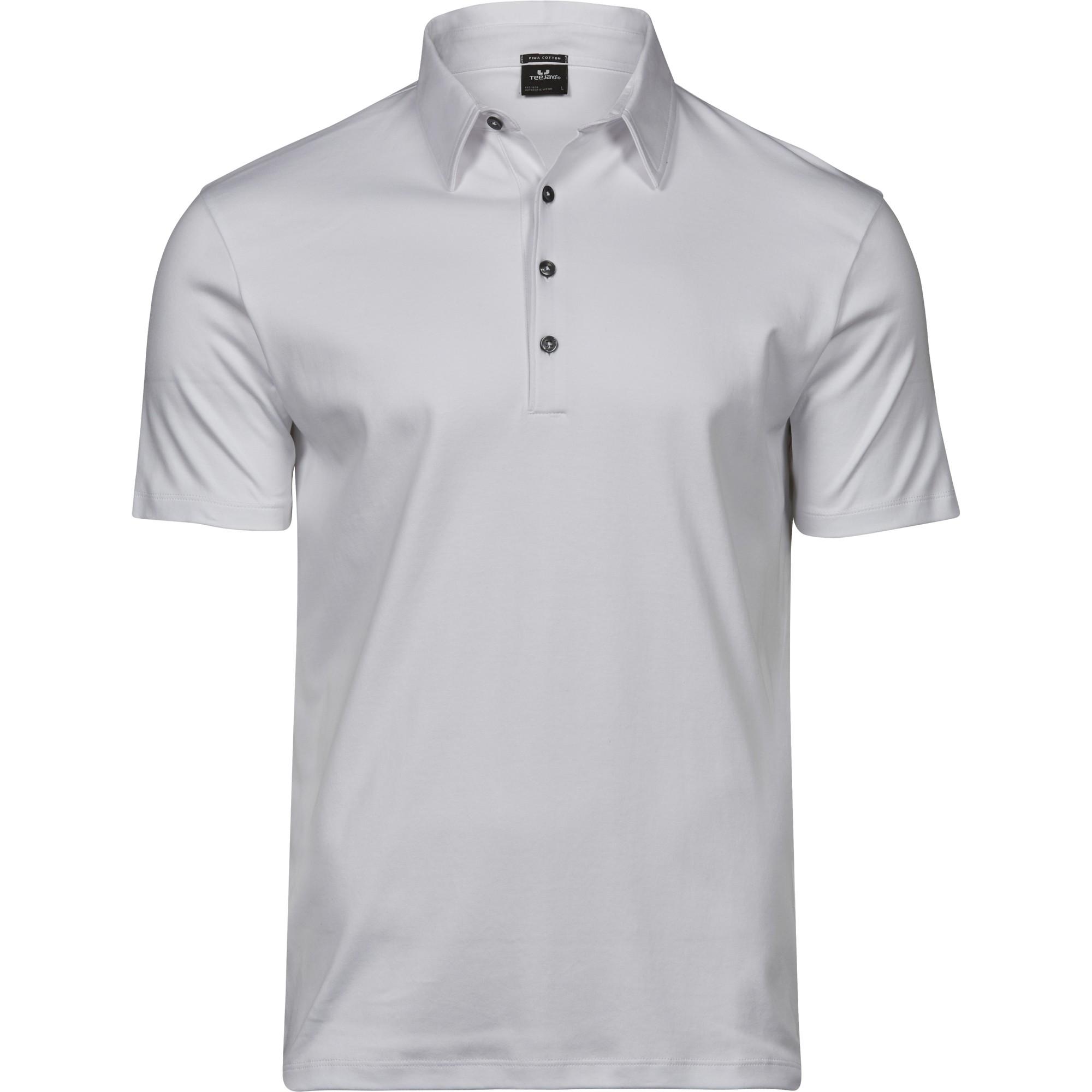 Tee Jays Mens Pima Cotton Interlock Polo Shirt (XXL) (White)