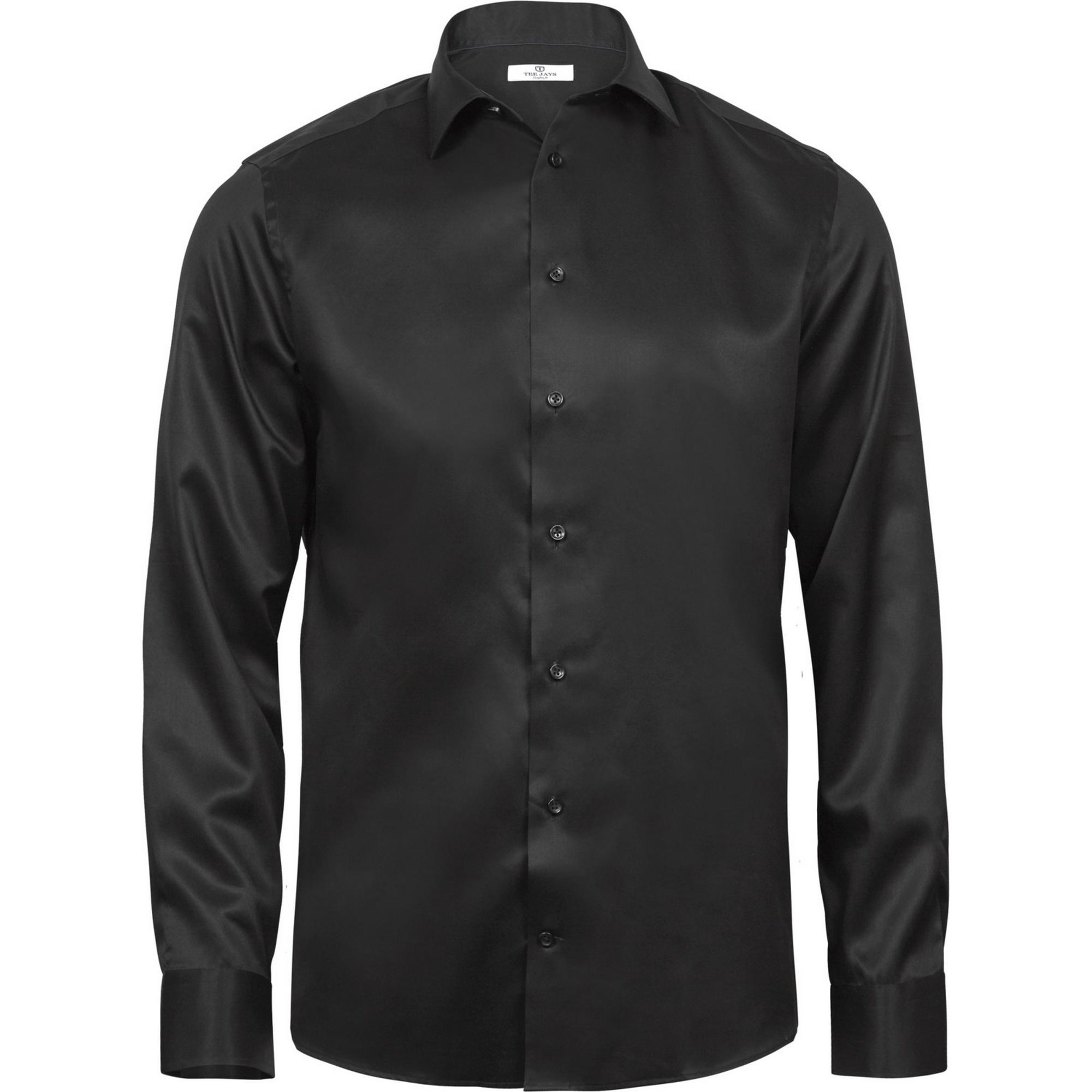 Tee Jays Mens Luxury Comfort Fit Long Sleeve Oxford Shirt (XL) (Black)