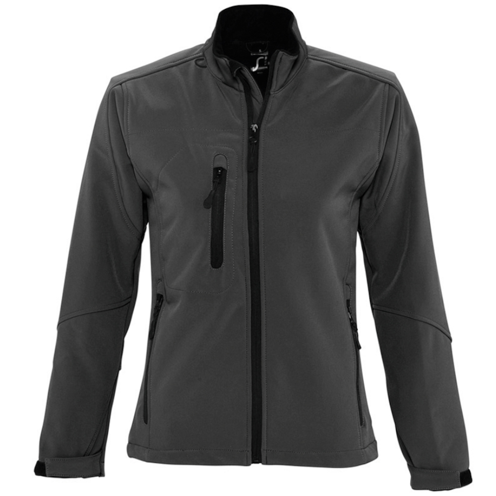 SOLS Womens/Ladies Roxy Soft Shell Jacket (Breathable, Windproof And Water Resistant) (XL) (Charcoal)