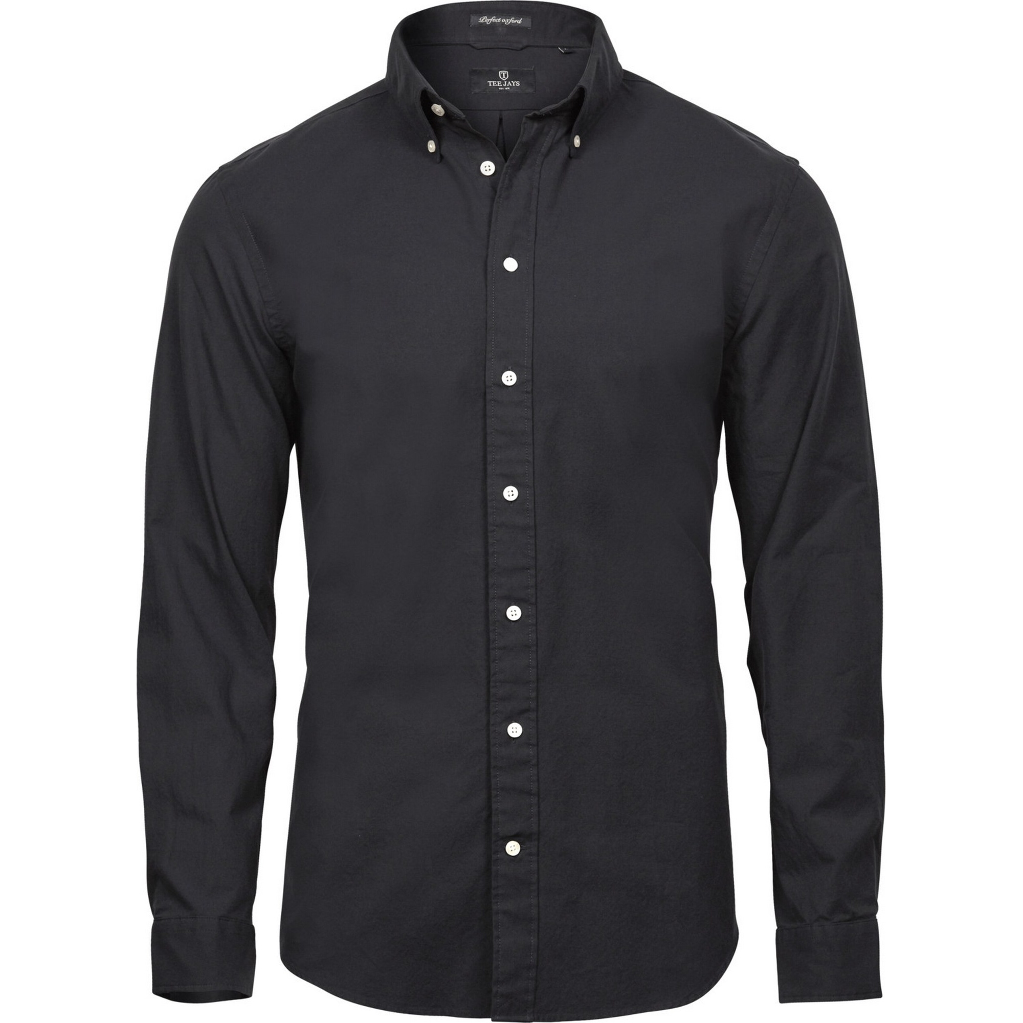 Tee Jays Mens Perfect Long Sleeve Oxford Shirt (M) (Black)