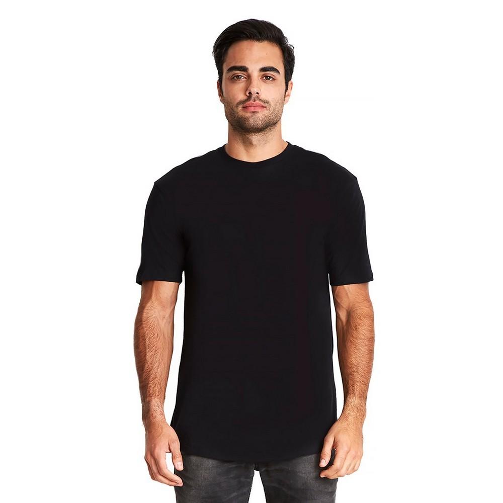 Next Level Mens Long Body Cotton T-Shirt (L) (Black)