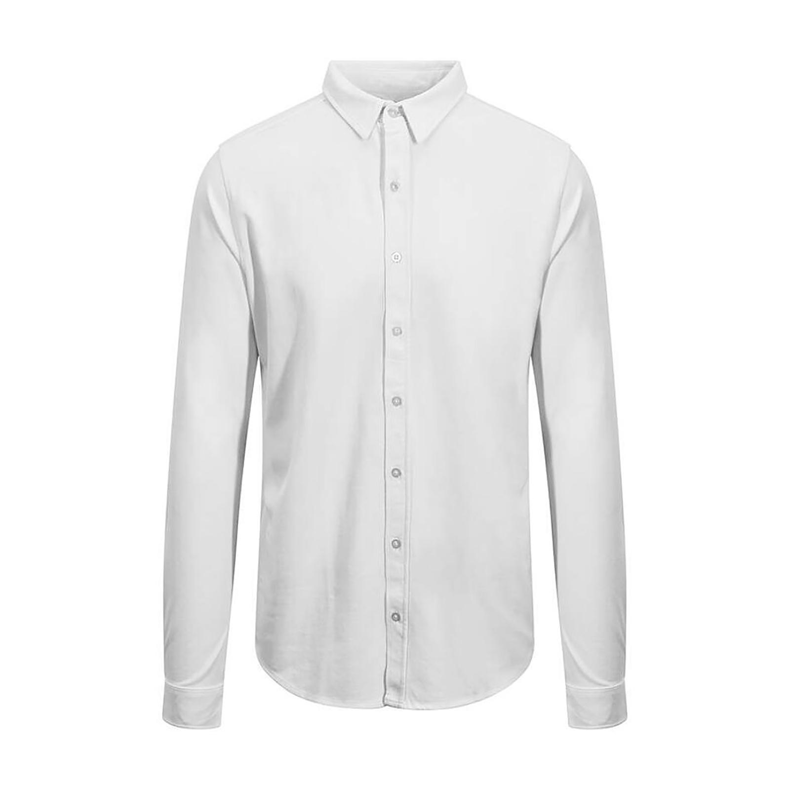 AWDis So Denim Mens Oscar Knitted Long Sleeve Shirt (L) (White)