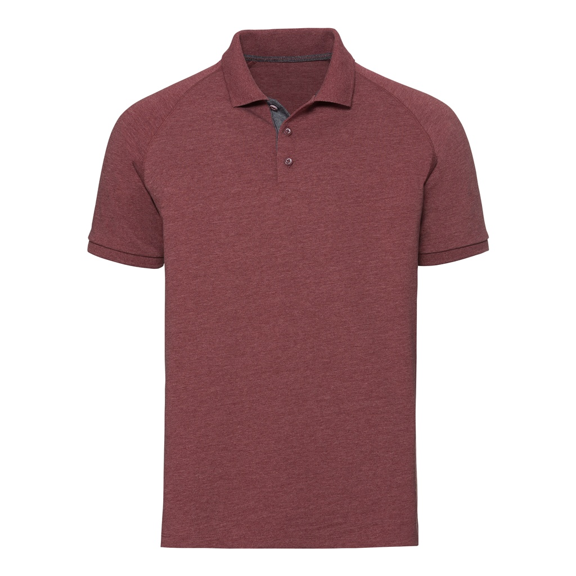 Russell Mens HD Raglan Jersey Polo Shirt (XS) (Maroon Marl)