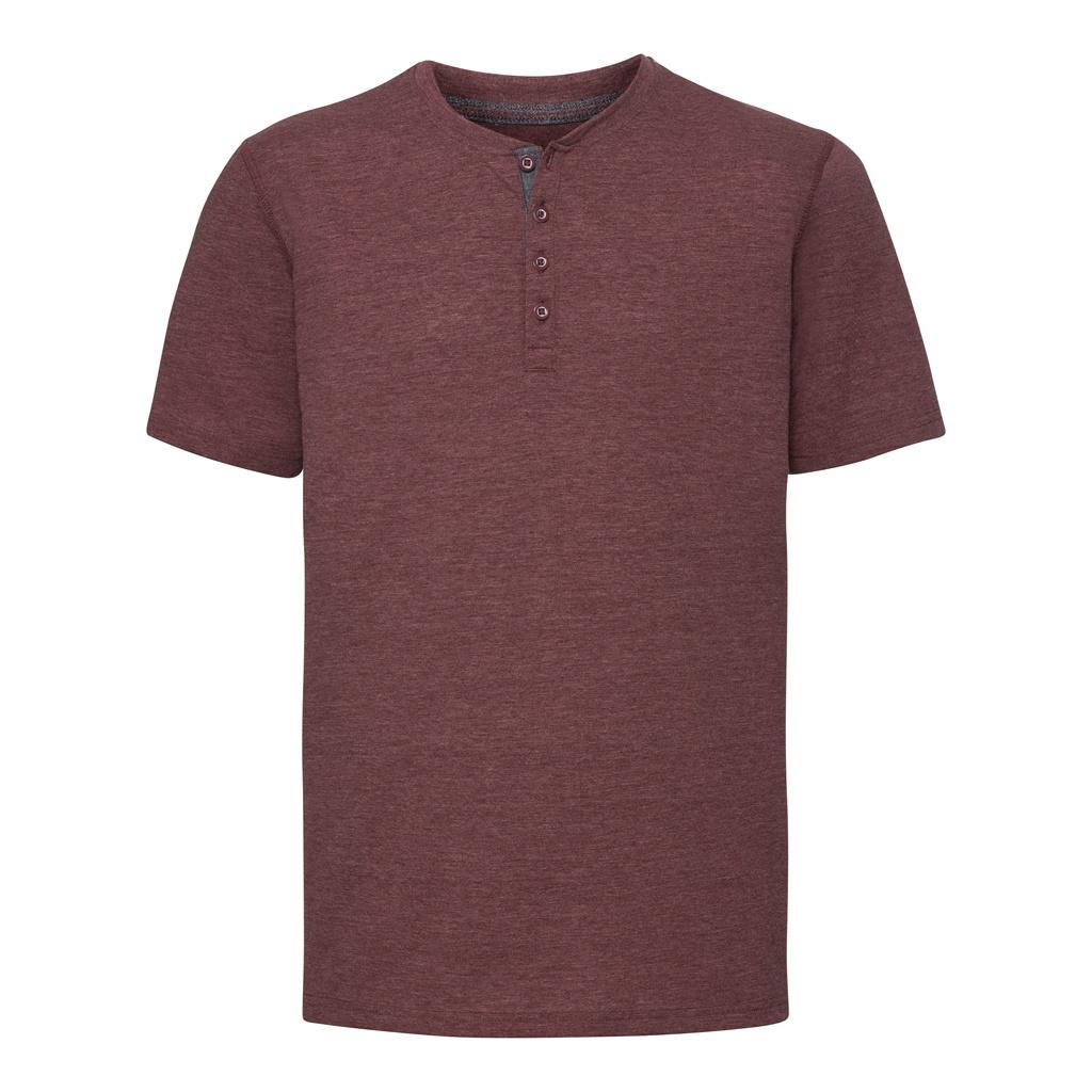 Russell Mens Henley HD T-Shirt (XXL) (Maroon Marl)