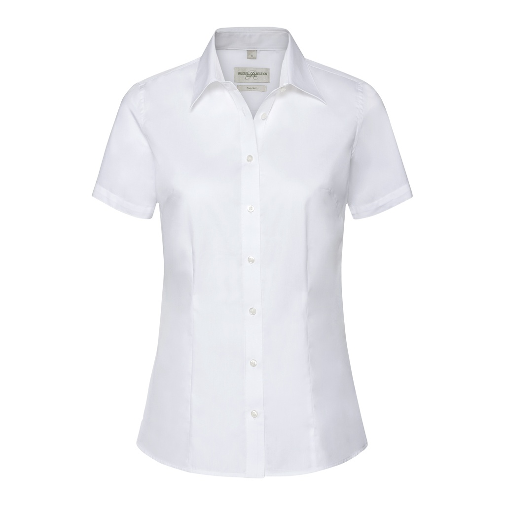 Russell Collection Womens/Ladies Short Sleeve Tailored Shirt (S) (White)