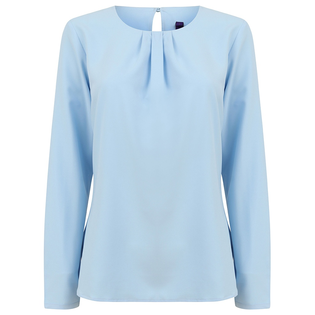 Henbury Womens/Ladies Pleat Front Long Sleeve Blouse (M) (Light Blue)
