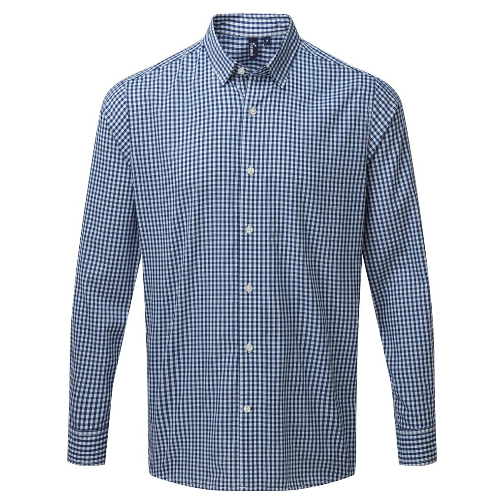 Premier Mens Maxton Check Long Sleeve Shirt (3XL) (Navy/White)