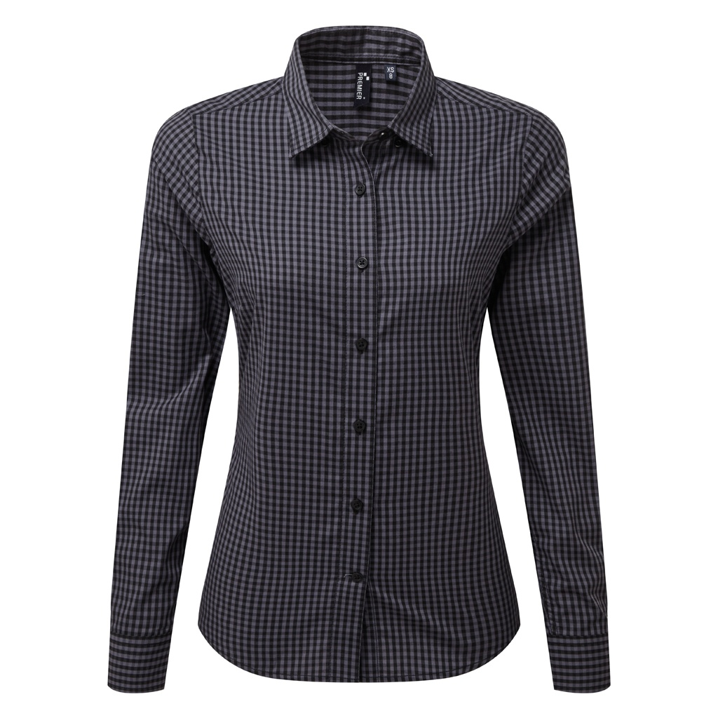 Premier Womens/Ladies Maxton Check Long Sleeve Shirt (XL) (Steel/Black)