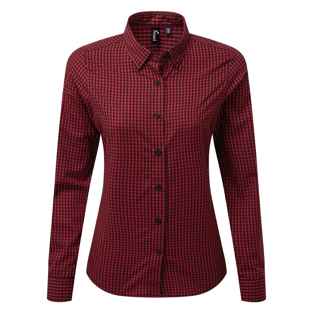 Premier Womens/Ladies Maxton Check Long Sleeve Shirt (XS) (Black/Red)