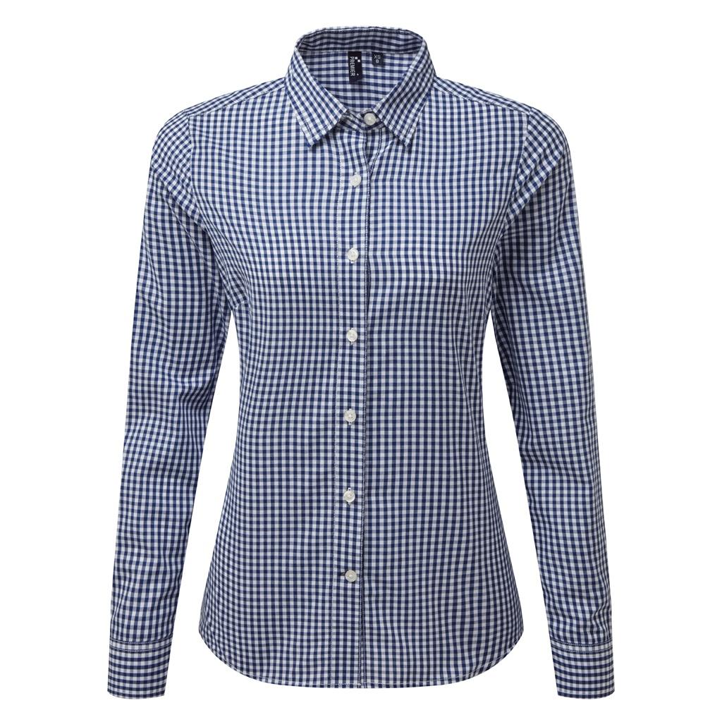 Premier Womens/Ladies Maxton Check Long Sleeve Shirt (M) (Navy/White)
