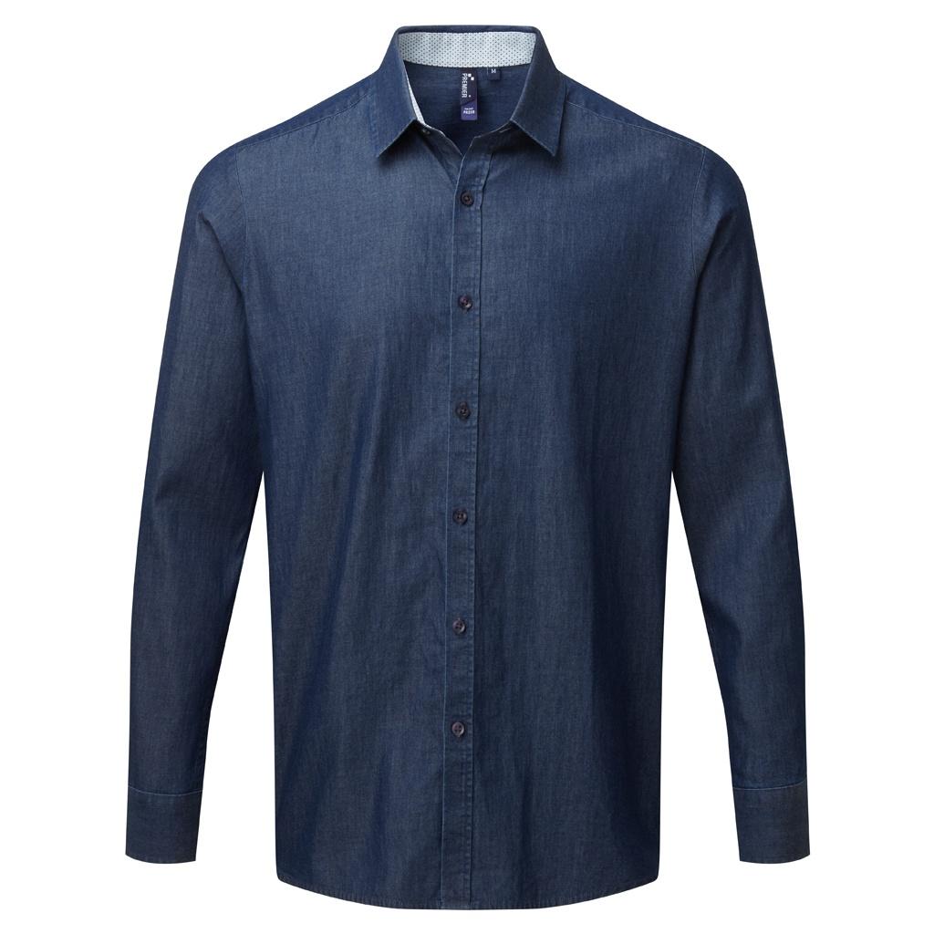 Premier Mens Long Sleeve Denim-Pindot Shirt (XL) (Indigo)