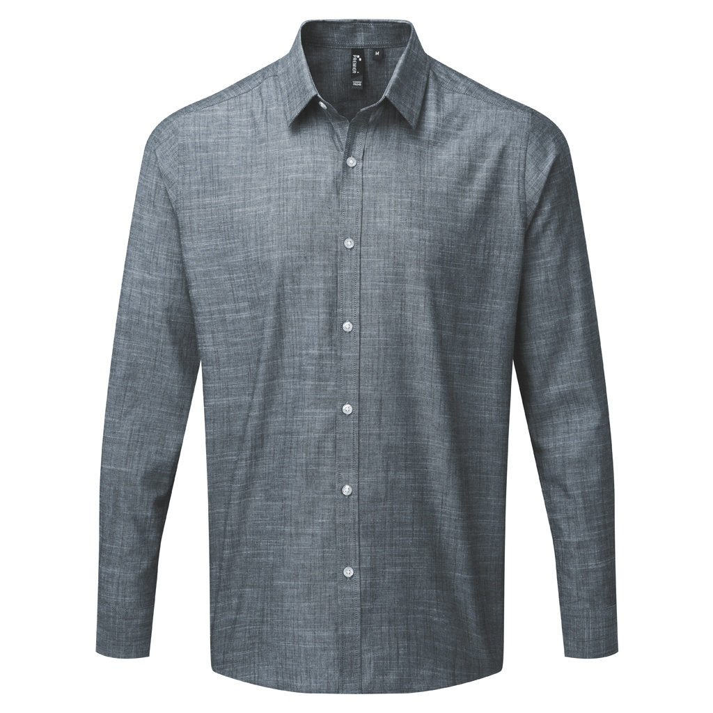 Premier Mens Long Sleeve Chambray Shirt (3XL) (Red)