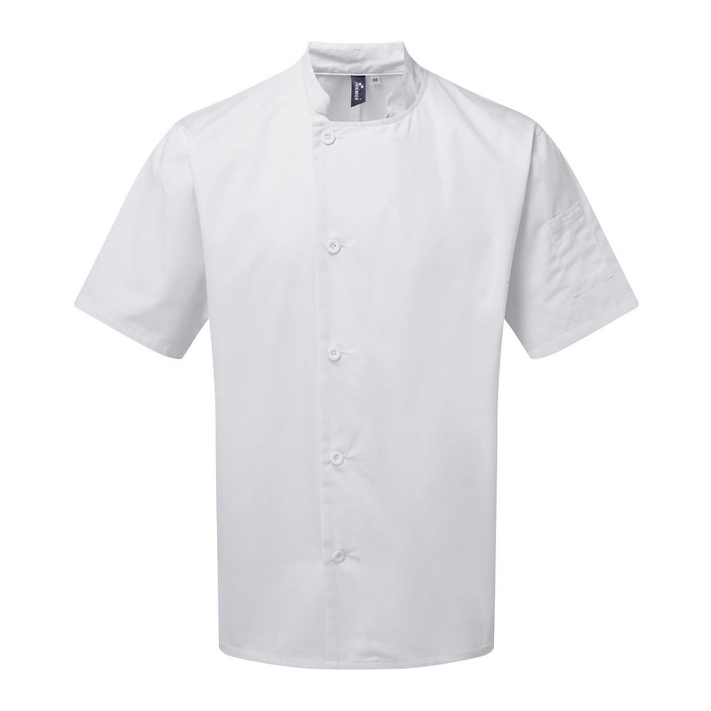 Premier Adults Unisex Essential Short Sleeve Chefs Jacket (XL) (White)