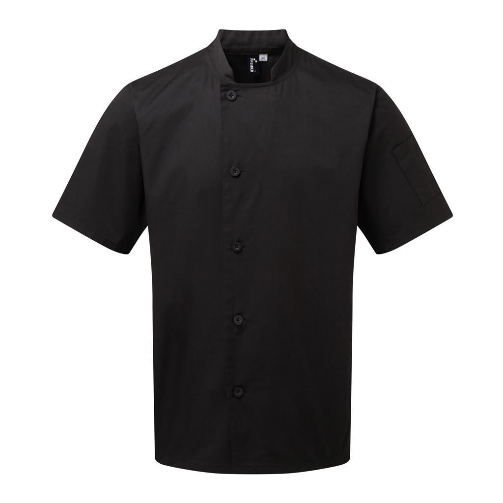 Premier Adults Unisex Essential Short Sleeve Chefs Jacket (XXL) (Black)