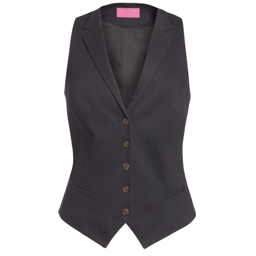 Brook Taverner Womens/Ladies Charlotte Chino Waistcoat (XL) (Black)