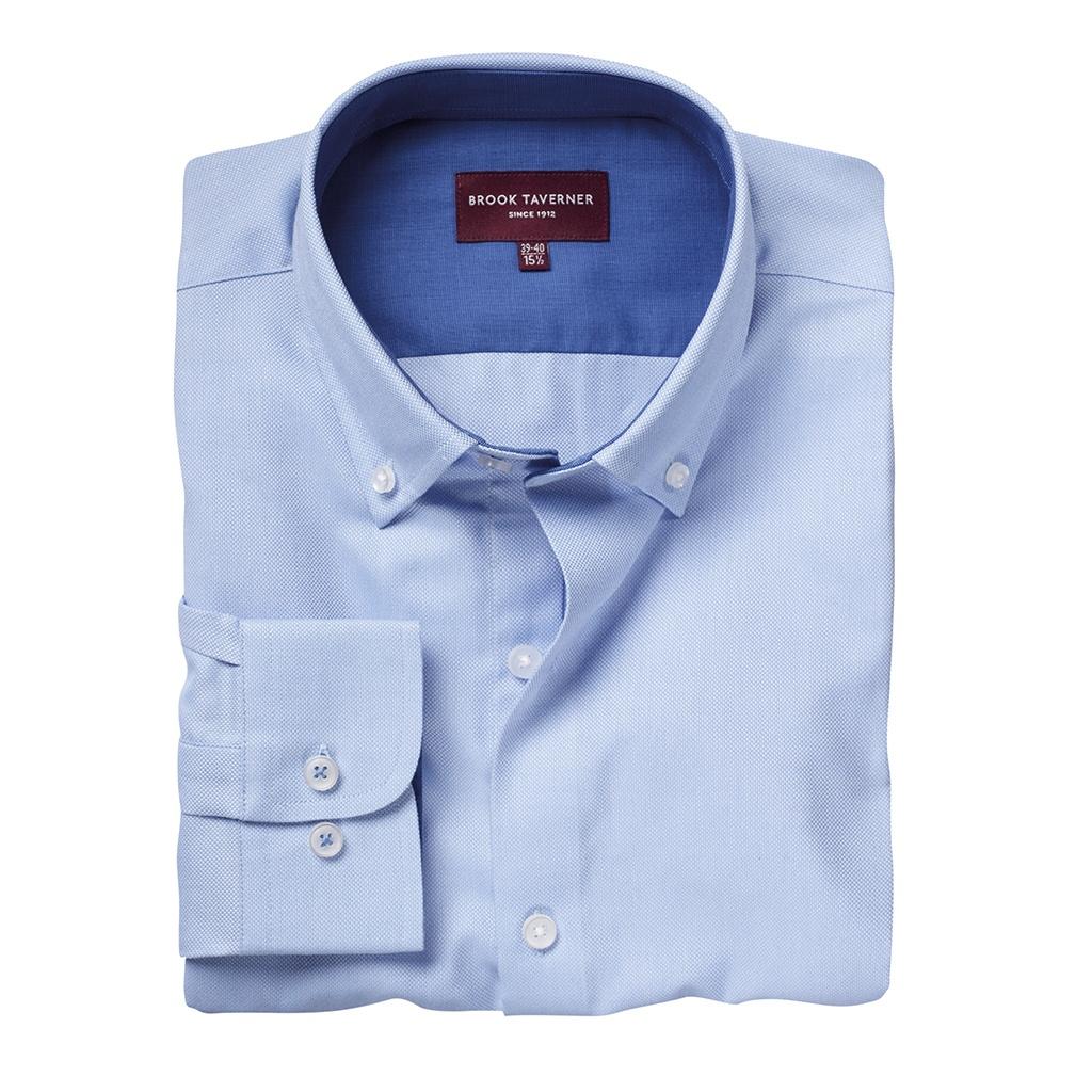Brook Taverner Mens Toronto Long Sleeve Oxford Shirt (18 UK) (Sky Blue)