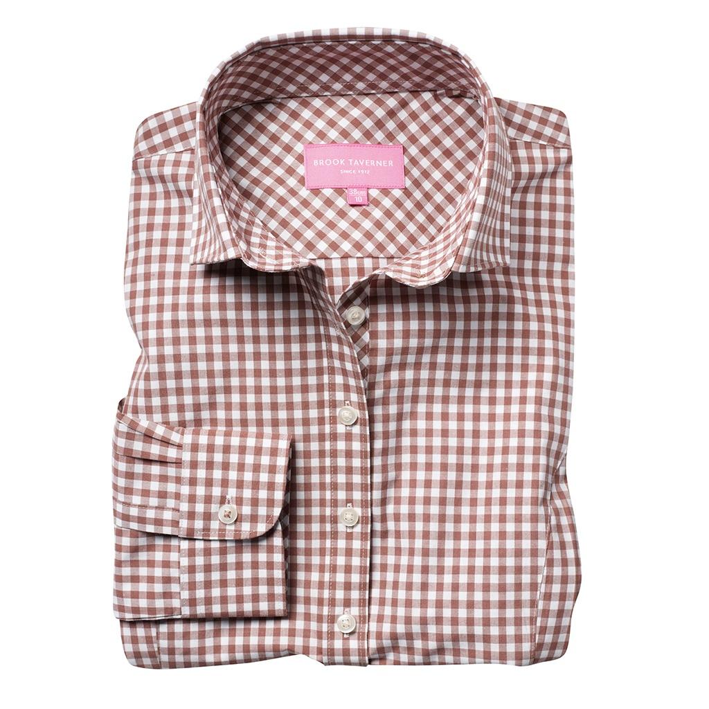 Brook Taverner Womens/Ladies Kansas Gingham Long Sleeve Shirt (10 UK) (Brown)
