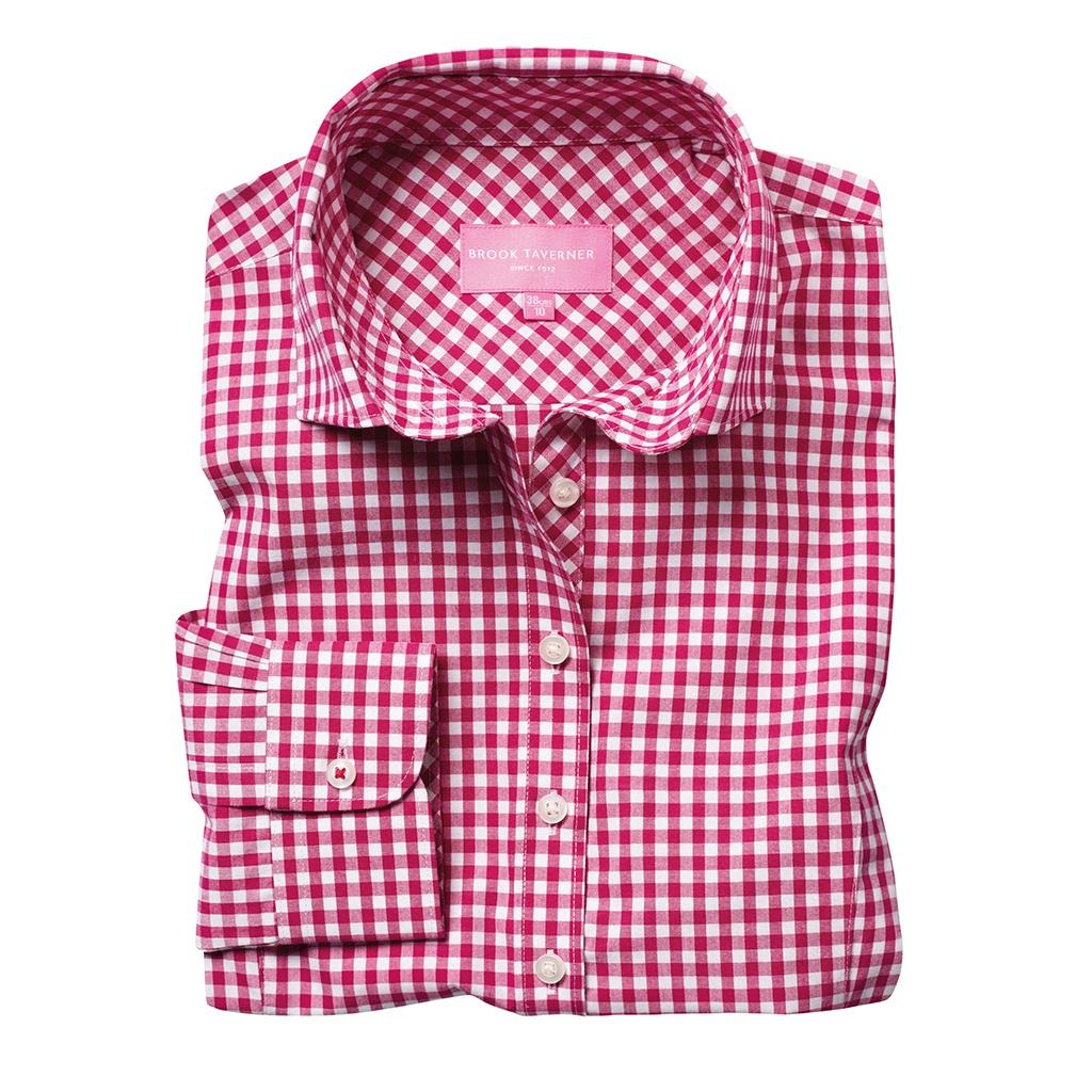 Brook Taverner Womens/Ladies Kansas Gingham Long Sleeve Shirt (12 UK) (Red)