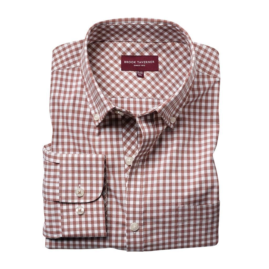 Brook Taverner Mens Montana Gingham Long Sleeve Shirt (14.5 UK) (Brown)