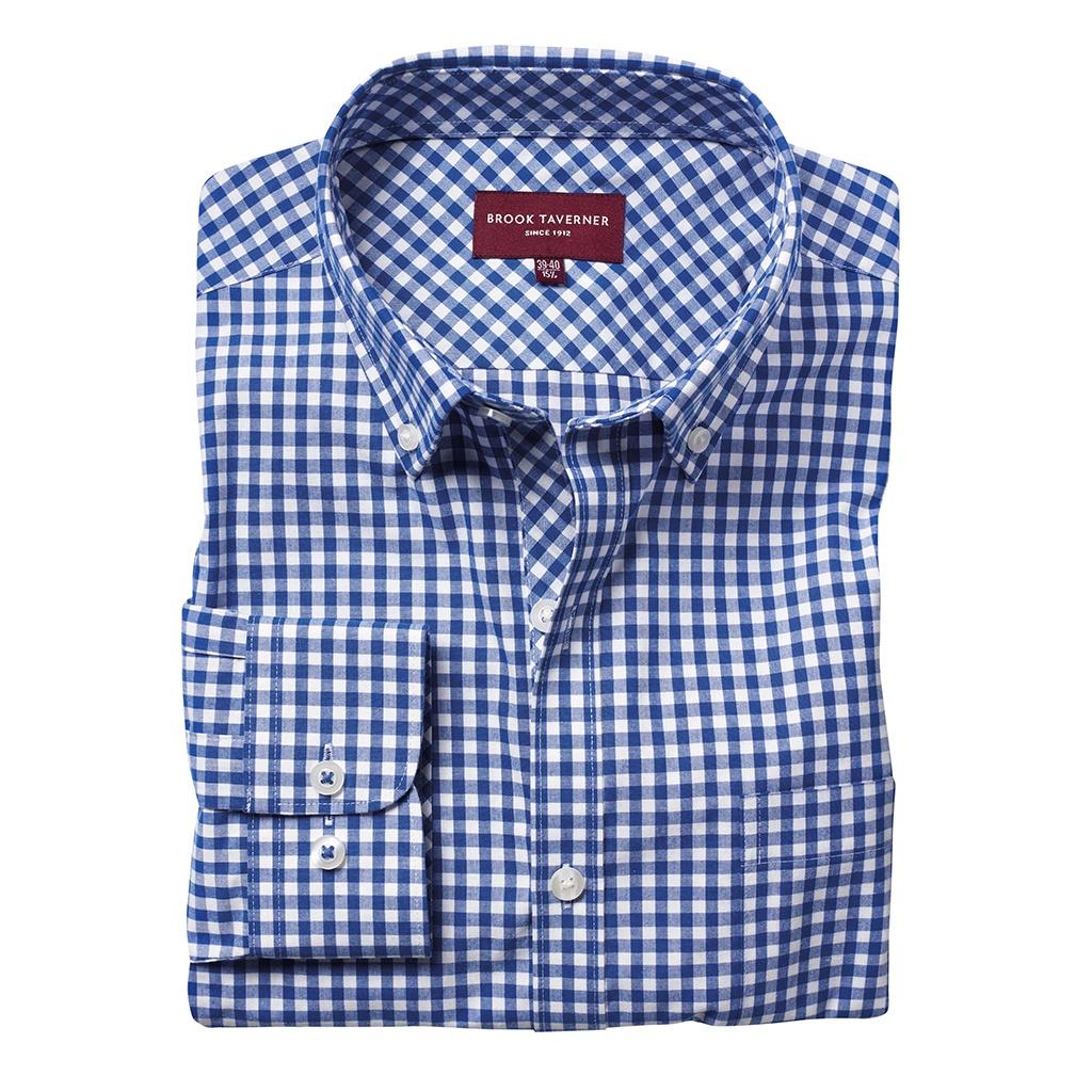 Brook Taverner Mens Montana Gingham Long Sleeve Shirt (16.5 UK) (Blue)