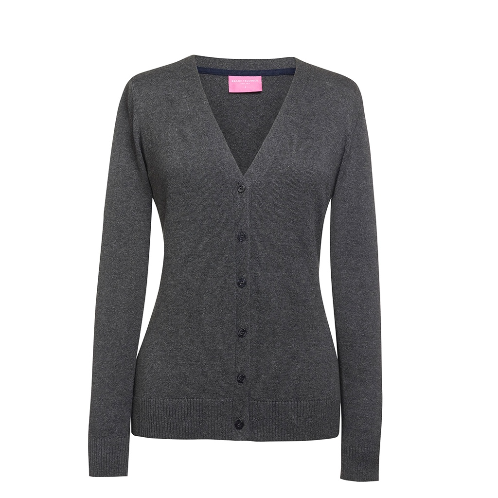Brook Taverner Womens/Ladies Augusta V Neck Cardigan (XL) (Charcoal)