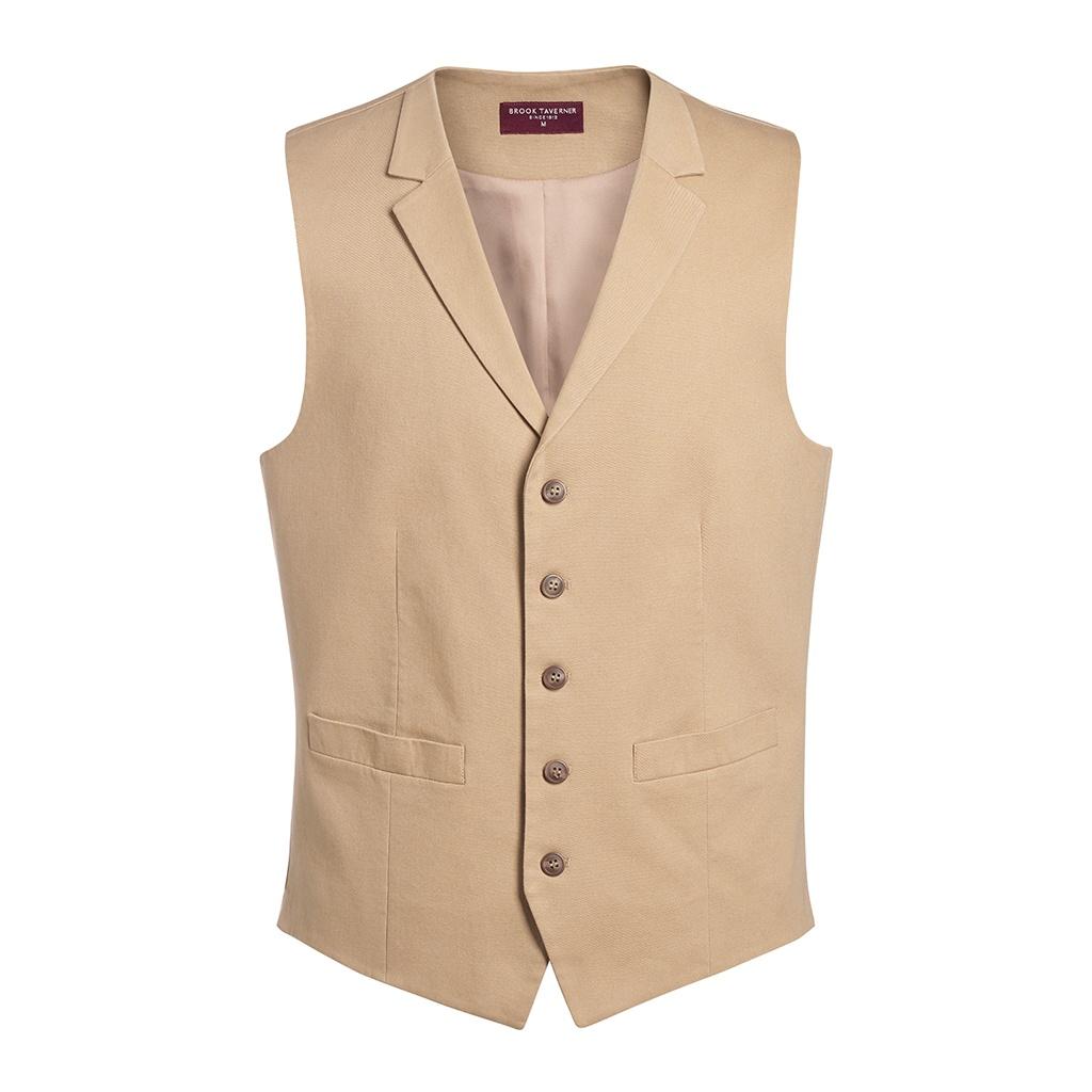 Brook Taverner Mens Vancouver Chino Waistcoat (XL) (Beige)