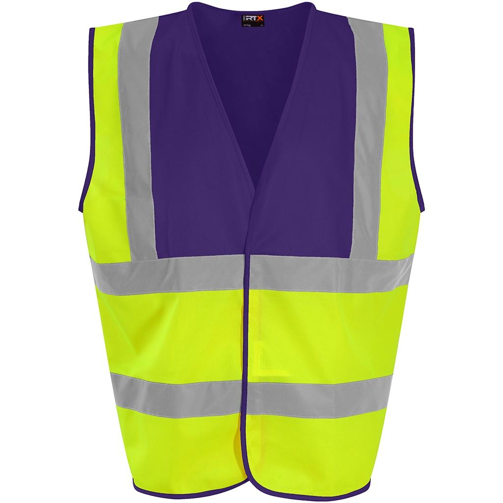 PRO RTX High Visibility Unisex Waistcoat (XL) (Yellow/Purple)