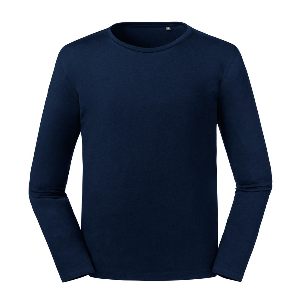 Russell Mens Pure Organic Long Sleeve T-Shirt (XXL) (French Navy)