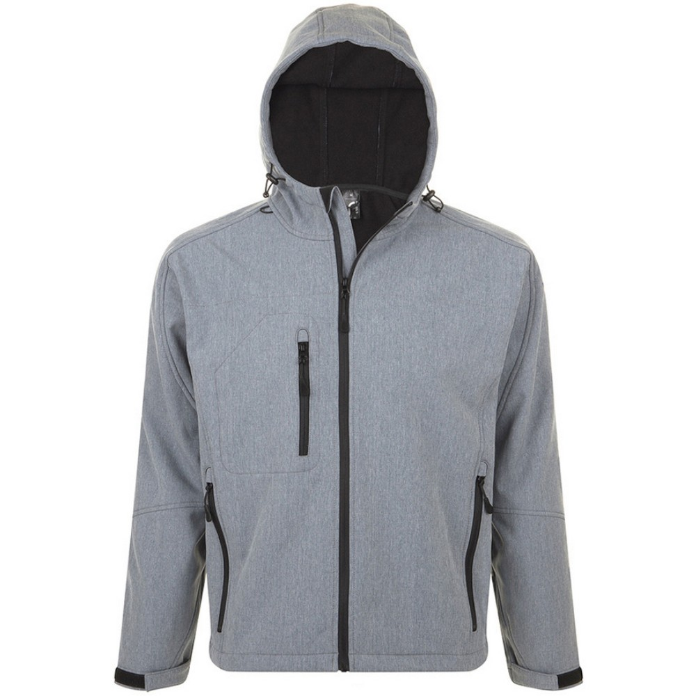 SOLS Mens Replay Hooded Soft Shell Jacket (Breathable, Windproof And Water Resistant) (3XL) (Grey Marl)