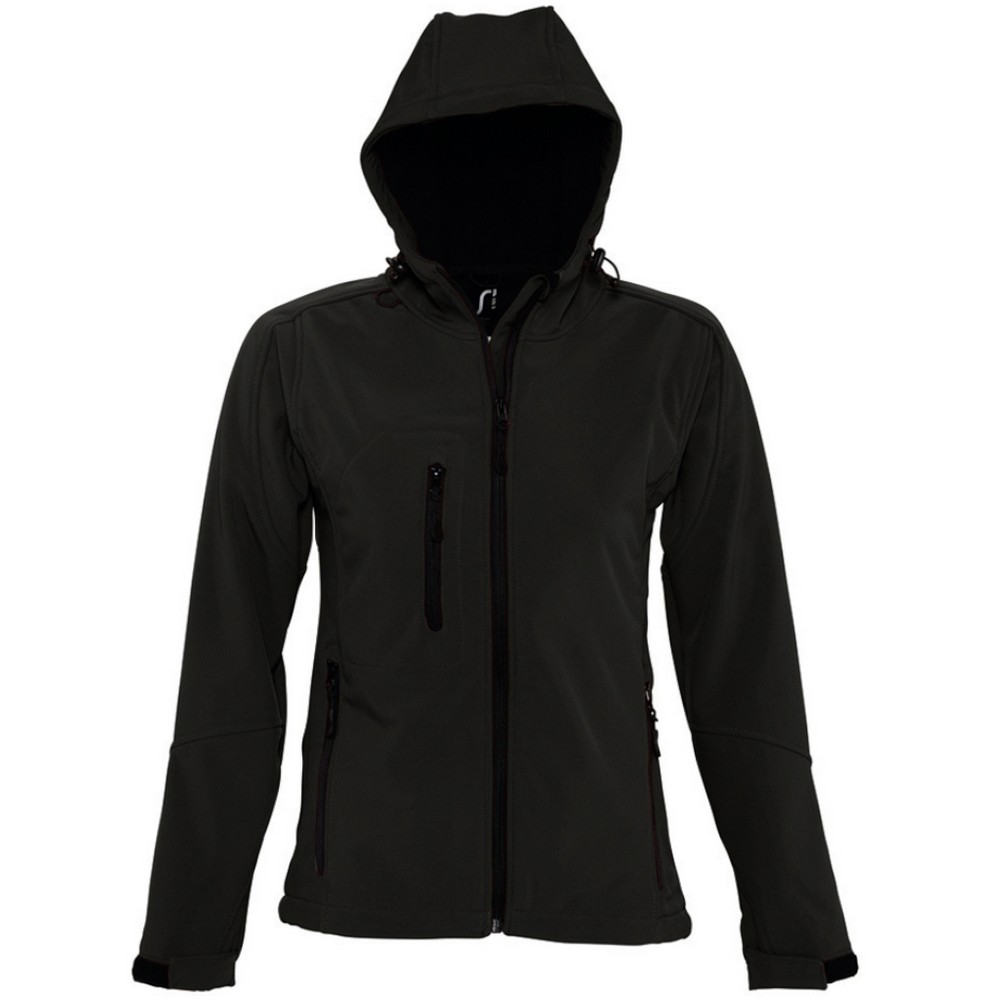 SOLS Womens/Ladies Replay Hooded Soft Shell Jacket (Breathable, Windproof And Water Resistant) (XL) (Black)