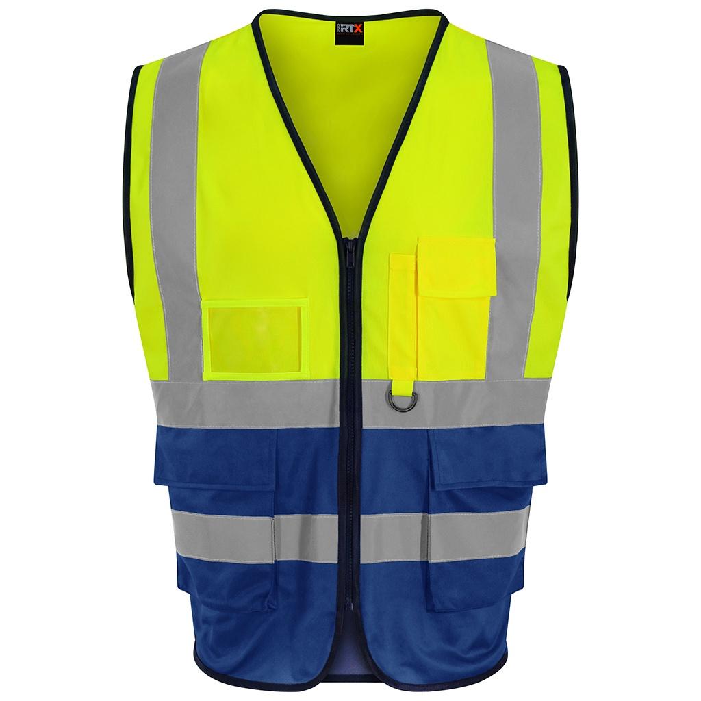 PRO RTX Mens Executive High-Vis Waistcoat (M) (Yellow/Royal Blue)