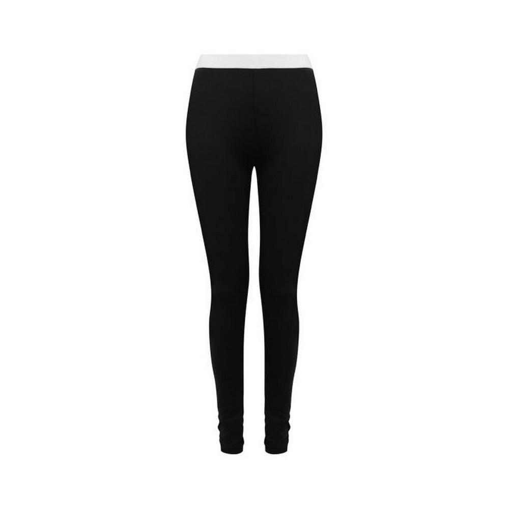 SF Womens/Ladies Leggings (L) (Black/White)