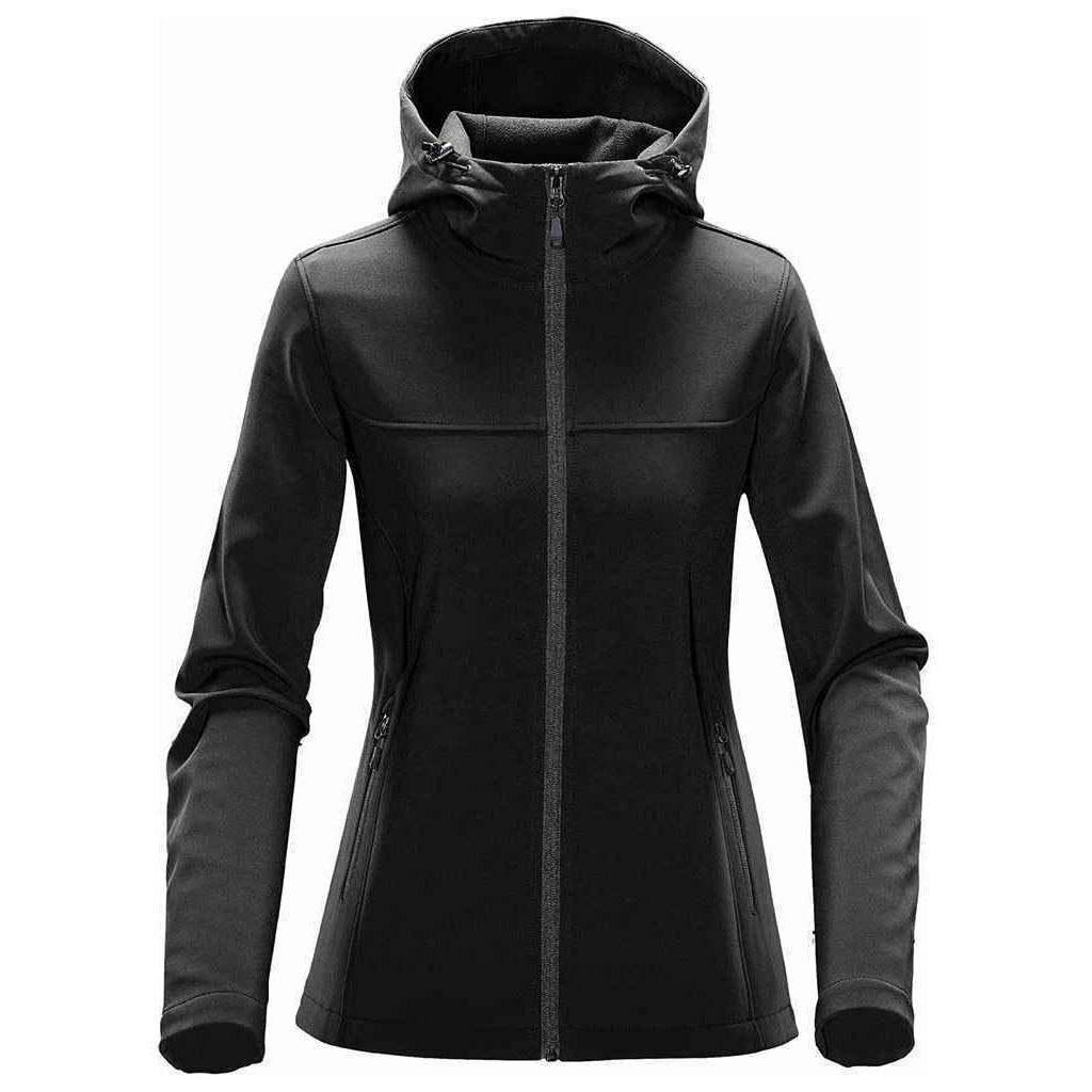 Stormtech Womens/Ladies Orbiter Hooded Soft Shell Jacket (XL) (Black/Dolphin)