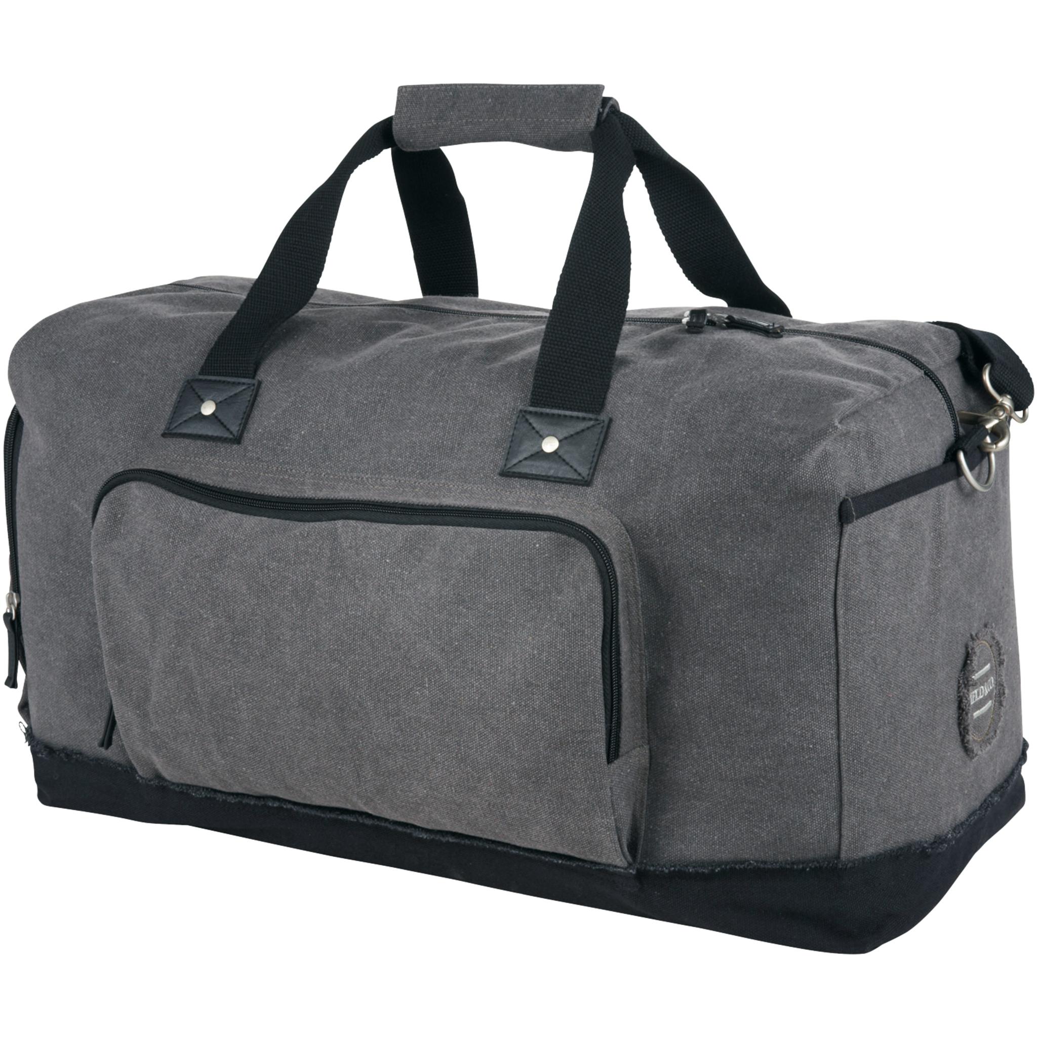Field & Co. Hudson Weekender Duffel (52.7 x 24.8 x 28.6cm) (Grey/Solid Black)