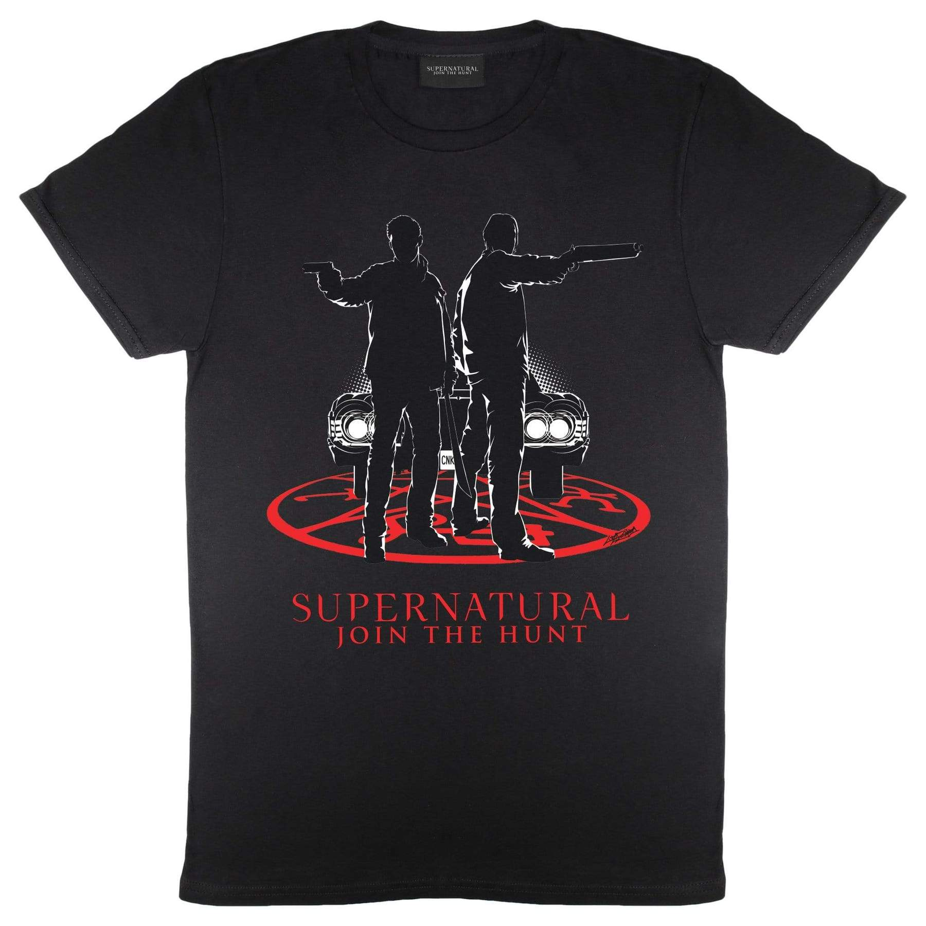 Supernatural Mens Winchesters By Car Light T-Shirt (S) (Black)