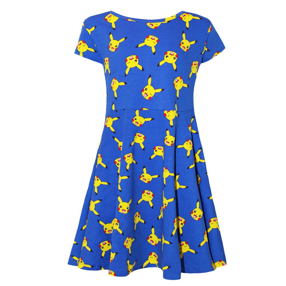 Pokemon Girls AOP Pikachu Face Dress (9-10 Years) (Blue)