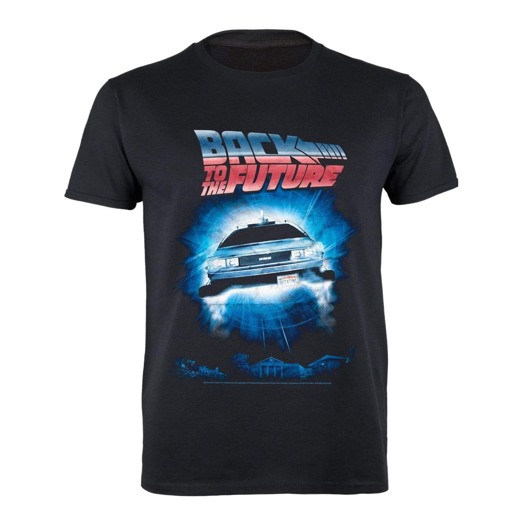 Back To The Future Mens Portal Delorean T-Shirt (5XL) (Black)