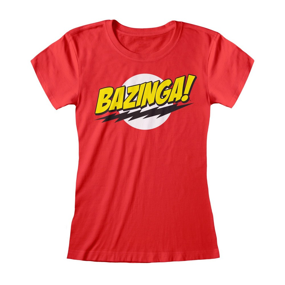 The Big Bang Theory Womens/Ladies Bazinga Fitted T-Shirt (M) (Red)