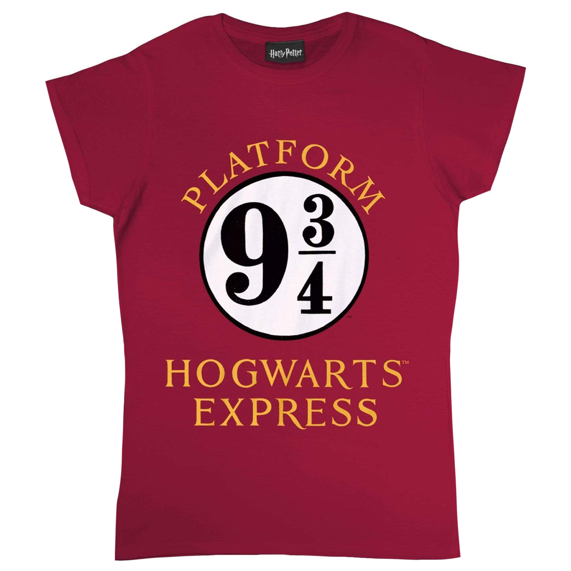 Harry Potter Womens/Ladies Hogwarts Express Fitted T-Shirt (XXL) (Burgundy/White)