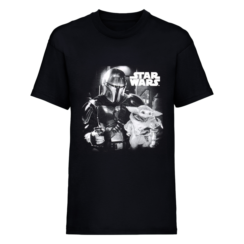 Star Wars: The Mandalorian Mens Mando And The Child Photograph T-Shirt (S) (Black)