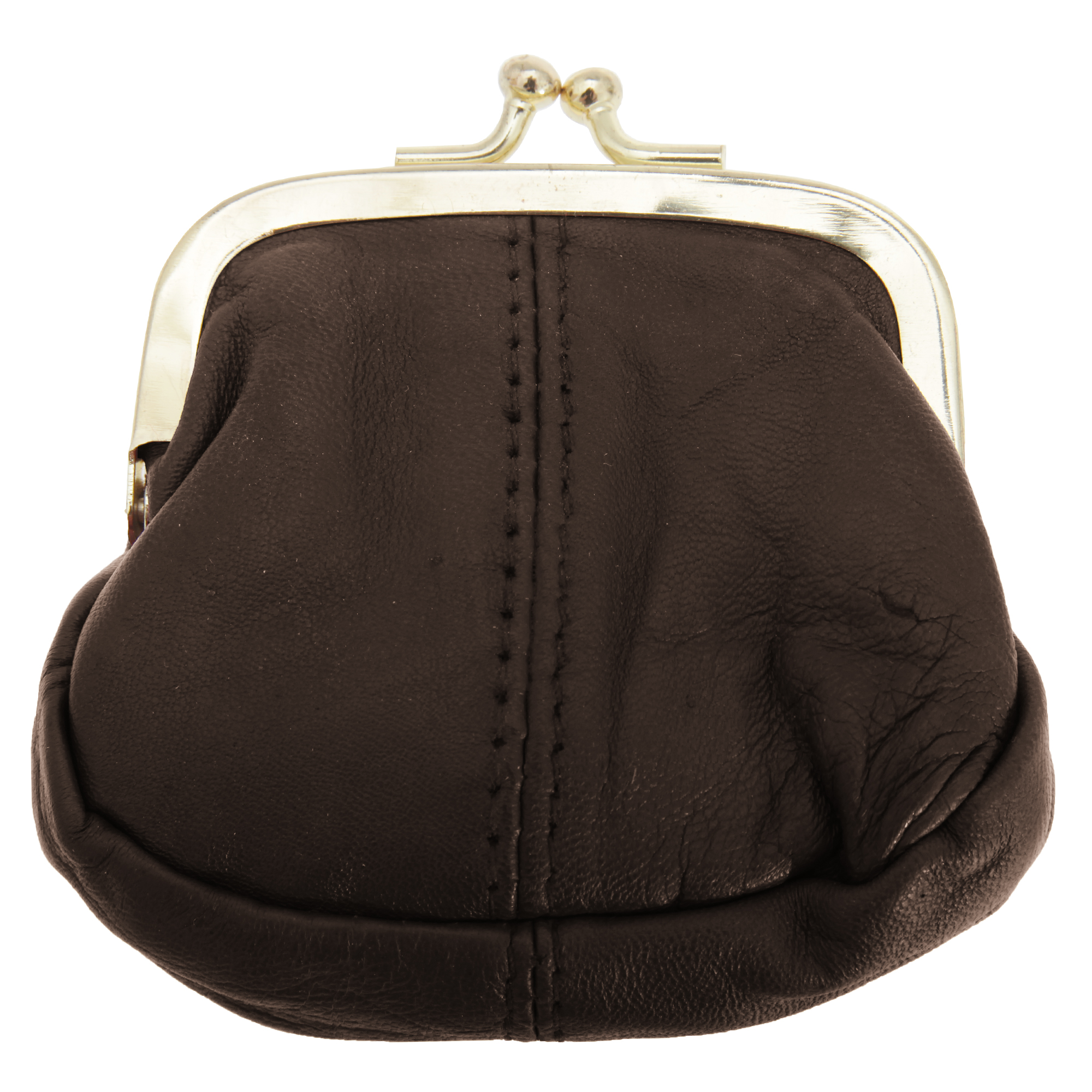 Womens/Ladies Soft Leather Coin Purse With Metal Clasp (One Size) (Brown)