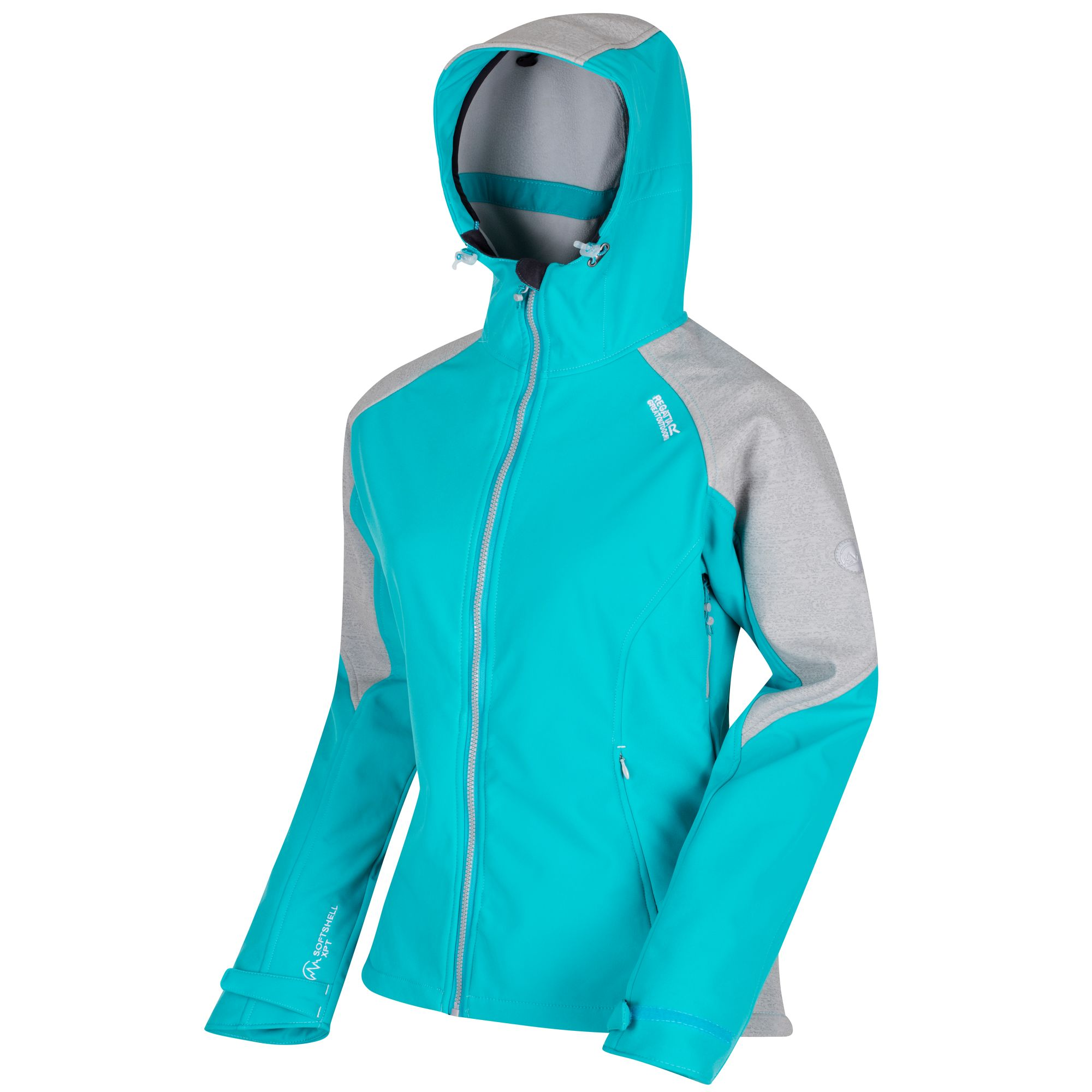 Regatta Great Outdoors Womens/Ladies Desoto III Wind Resist Hooded Softshell Reflective Jacket (16) (Aqua/LtSteel)
