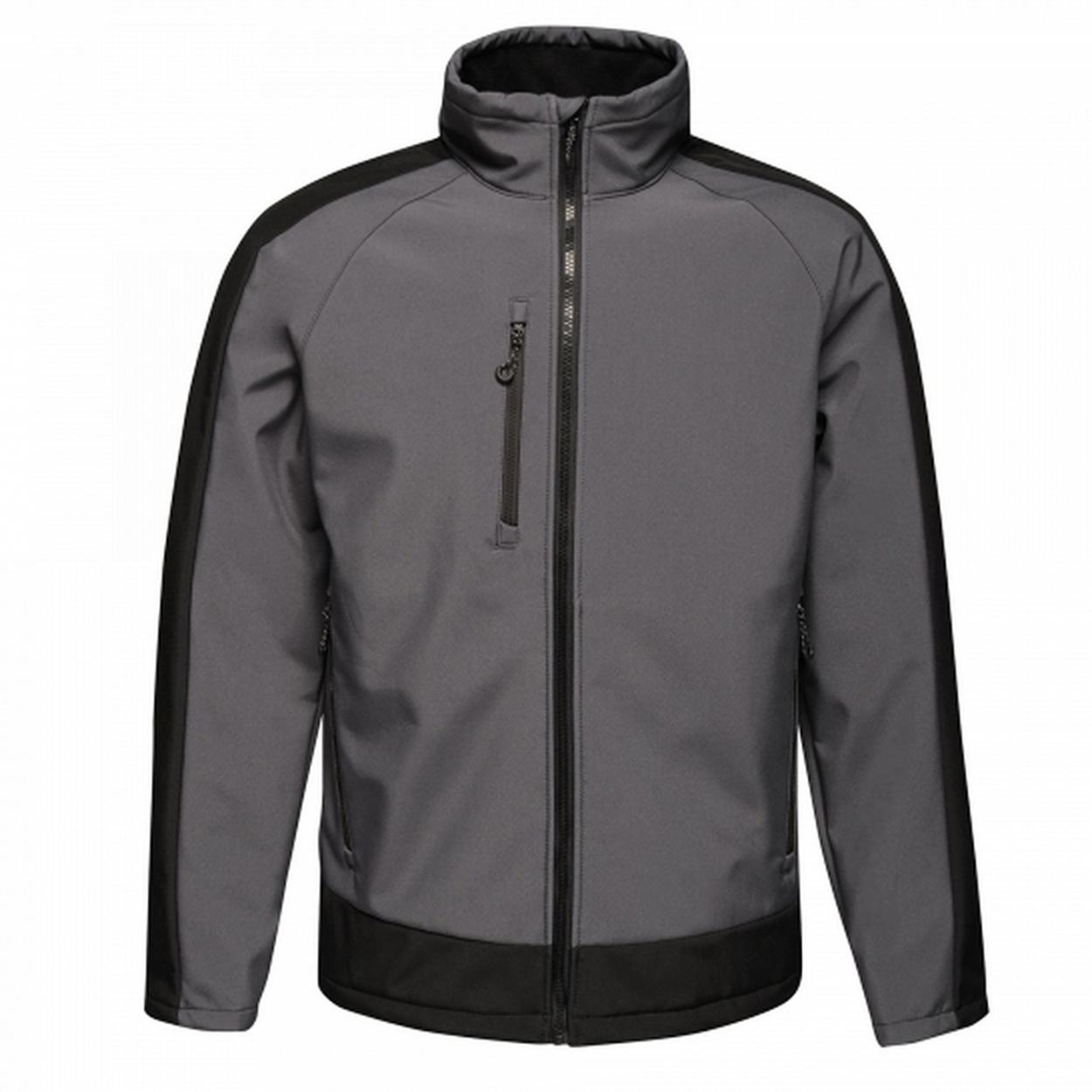 Regatta Mens Contrast 3 Layer Softshell Full Zip Jacket (XL) (Slate Grey/Signal Black)