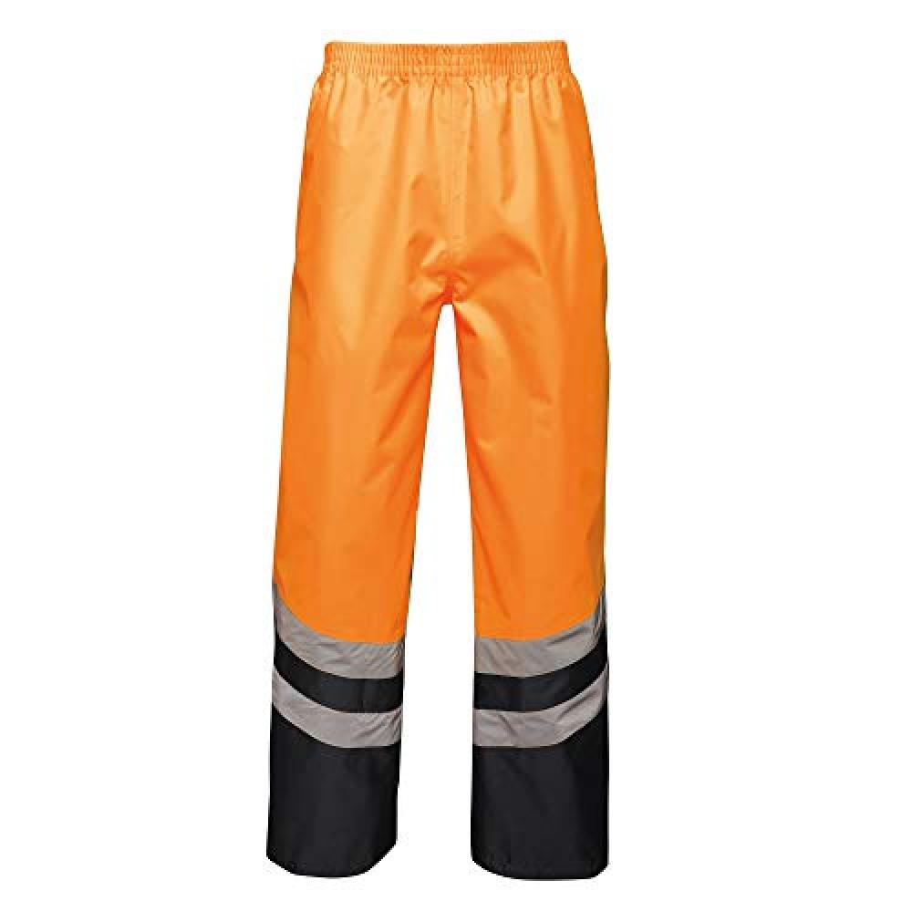 Regatta Unisex Hi Vis Pro Reflective Work Over Trousers (M) (Orange/Navy)