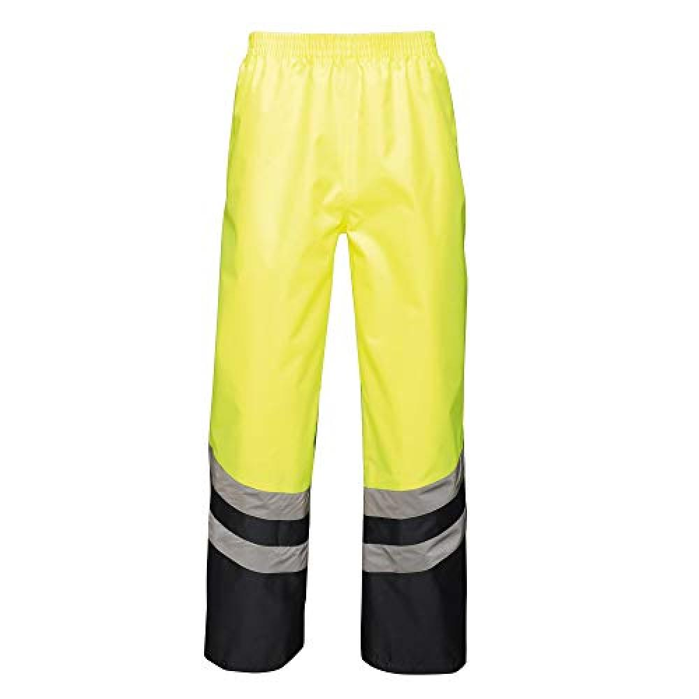 Regatta Unisex Hi Vis Pro Reflective Work Over Trousers (XXXL) (Yellow/Navy)