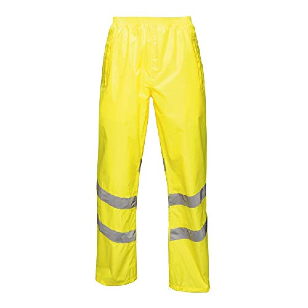 Regatta Unisex Hi Vis Pro Reflective Packaway Work Over Trousers (M) (Yellow)