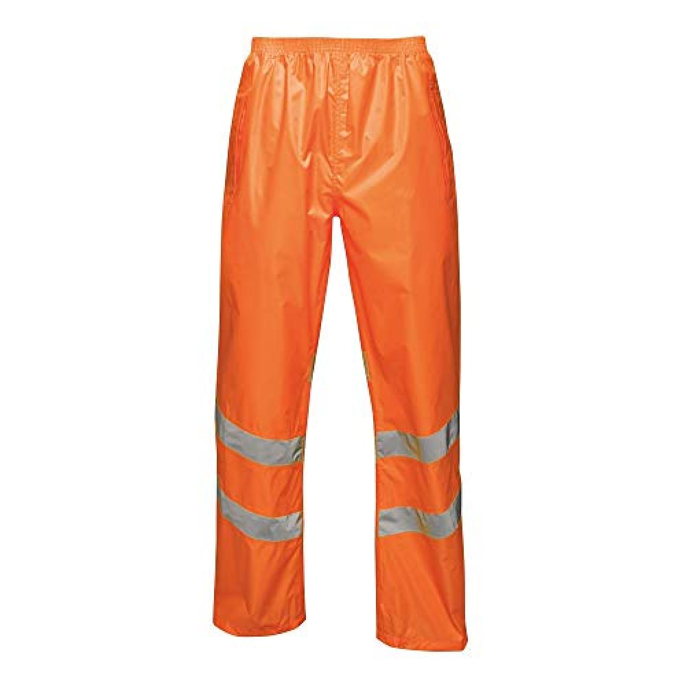 Regatta Unisex Hi Vis Pro Reflective Packaway Work Over Trousers (L) (Orange)