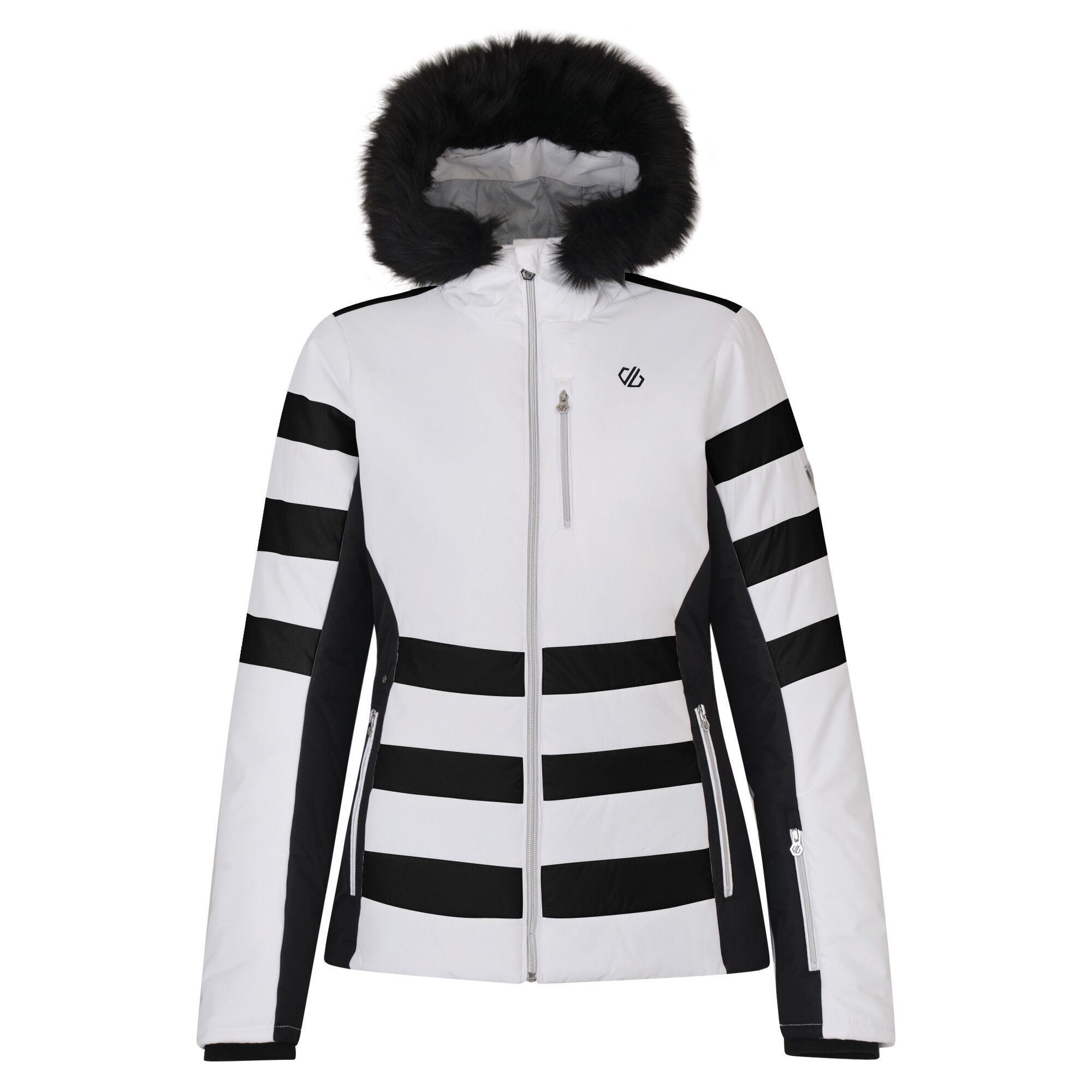Dare 2B Womens/Ladies Snowglow Faux Fur Trim Ski Jacket (14 UK) (White/Black)