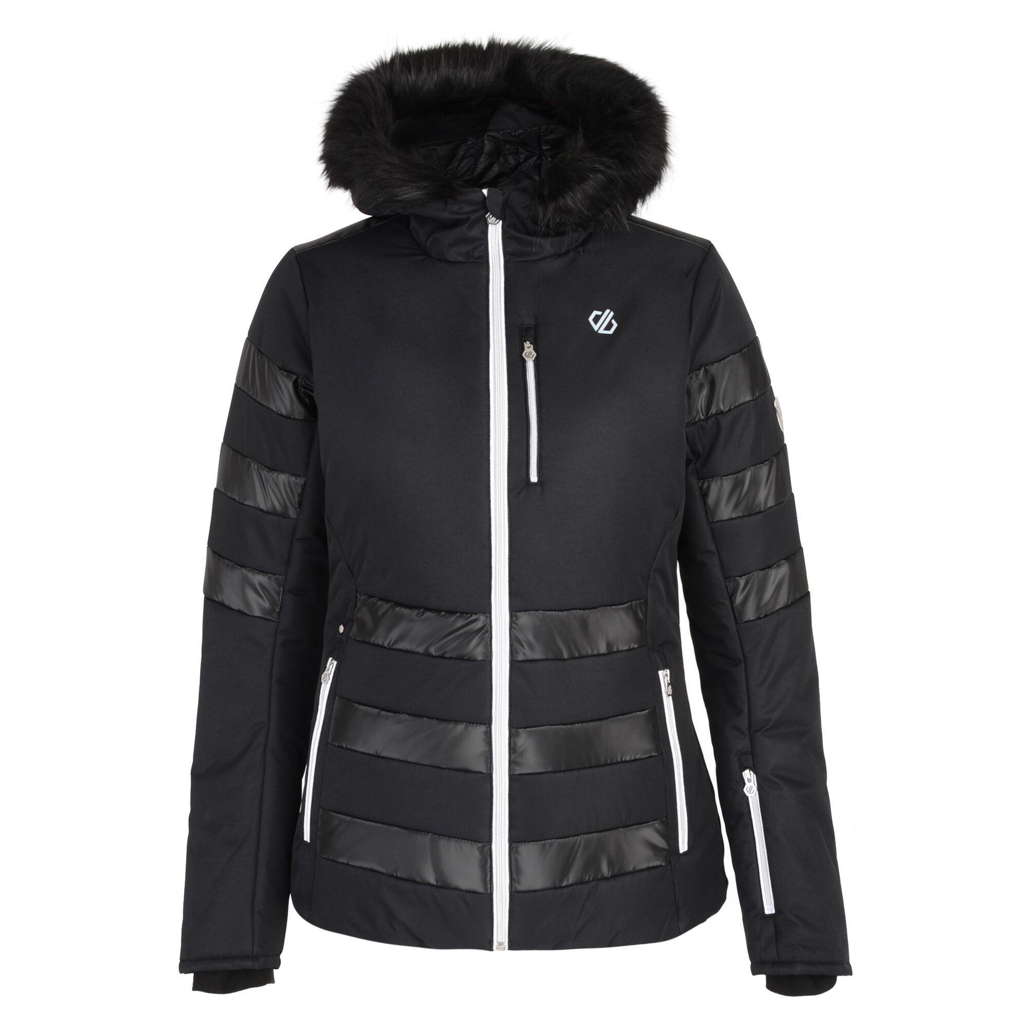 Dare 2B Womens/Ladies Snowglow Faux Fur Trim Ski Jacket (16 UK) (Black)