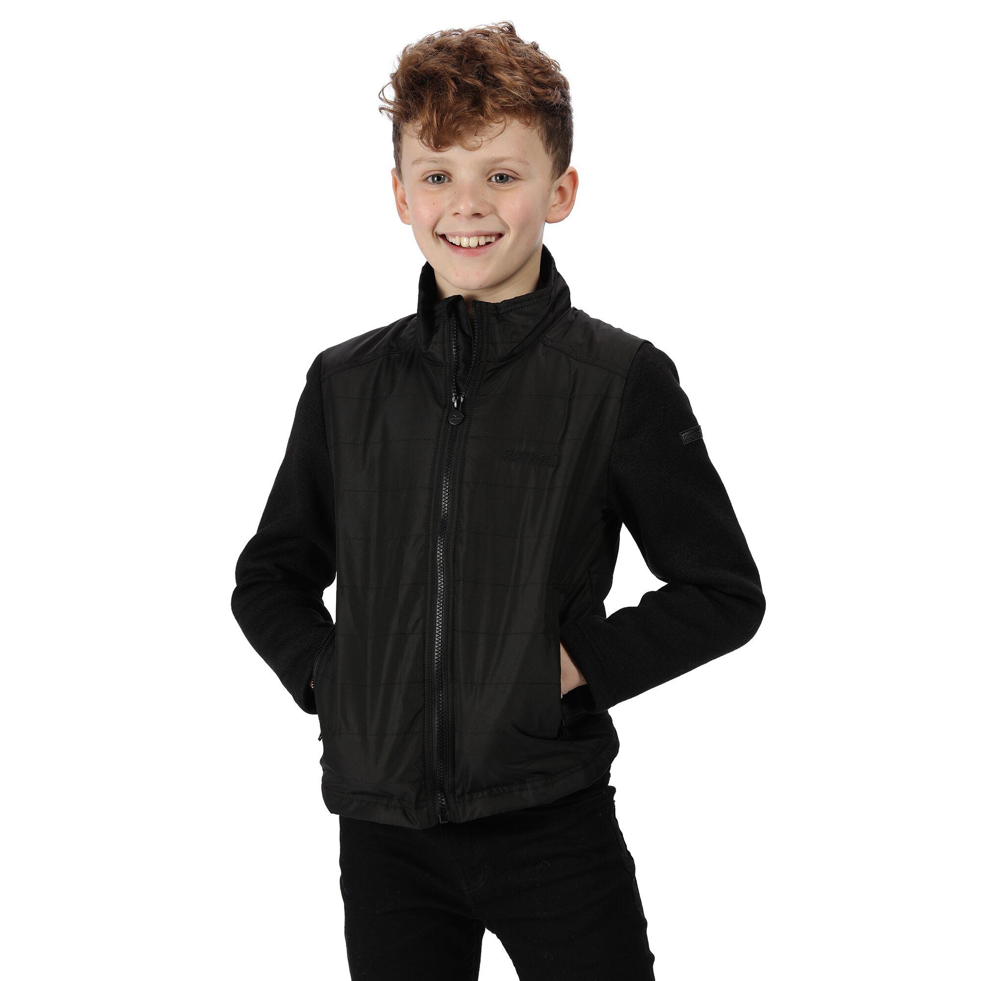 Regatta Childrens/Kids Kenya Padded Jacket With Fleece Sleeves (3-4 Years) (Black)